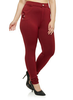 Plus Size Stretch Knit Skinny Pants - 1961072716785