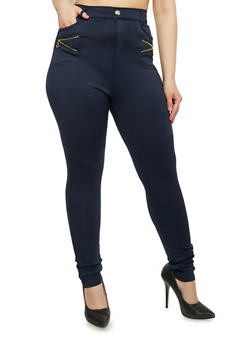 Plus Size Skinny Pants with Zipper Pockets - 1961072716786