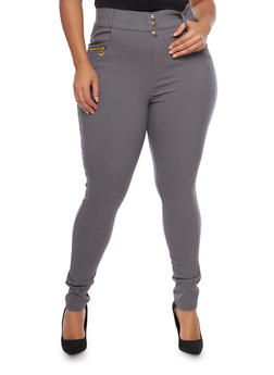 Plus Size High Waisted Zip Pocket Pants - 1961072716788
