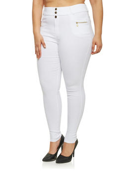 Plus Size High Waisted Pants with Zip Pockets - WHITE - 1961072716788