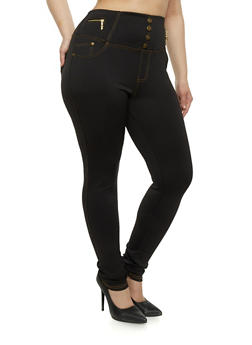 Plus Size High Waisted Scuba Knit Pants - 1961072716901