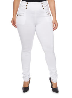 Plus Size High Waisted Scuba Knit Pants - 1961072716902