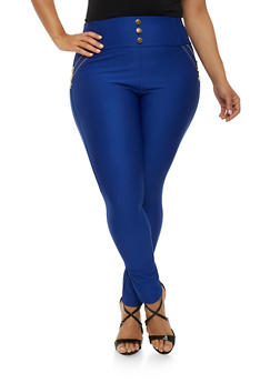 Plus Size High Waisted Zipper Stretch Pants - 1961072716903