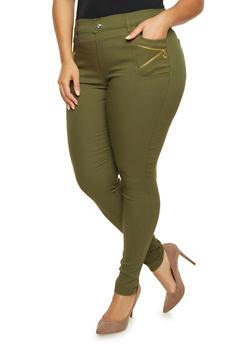 Plus Size Stretch Pants with Zipper Trim - OLIVE - 1961072716907
