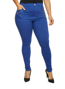 Plus Size Stretch Pants with Zipper Trim - 1961072716907
