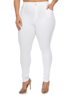 Plus Size High Waisted Jeggings - WHITE - 1961072716944
