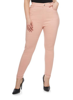 Plus Size Stretch Ankle Pants with Rhinestone Accents - BLUSH - 1961072719816