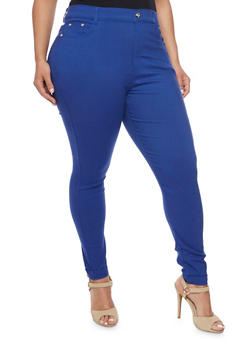 Plus Size Stretch Ankle Pants with Rhinestone Accents - 1961072719816
