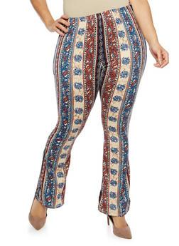 Plus Size Soft Knit Border Print Flared Pants - 1961074015556