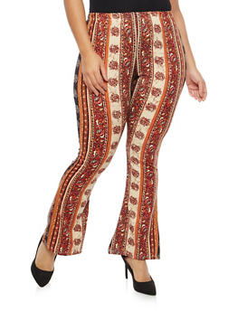 Plus Size Soft Knit Border Print Flared Pants - 1961074015556