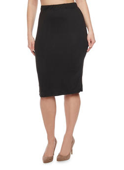 Plus Size Midi Pencil Skirt - 1962001440319