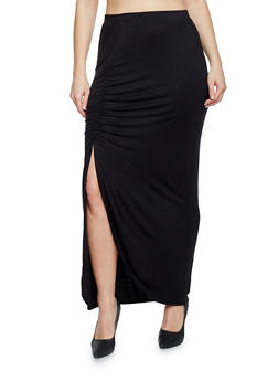 Plus Size Ruched Side Slit Maxi Skirt - 1962001441099