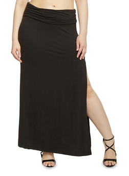 Plus Size High Side Slit Stretch Maxi Skirt - 1962001441208
