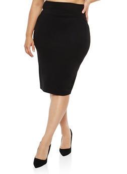 Plus Size Black Wide Waist Pencil Skirt - 1962051060472