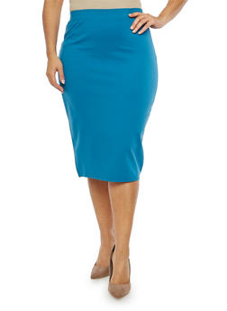 Plus Size Solid Ponte Pencil Skirt - 1962051066471