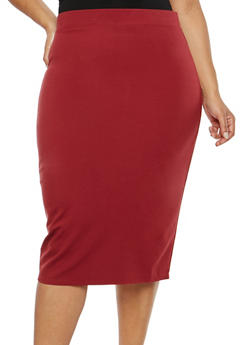 Plus Size Solid Ponte Pencil Skirt - 1962051066471