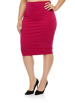 Plus Size Wide Waist Pencil Skirt - 1962051066472