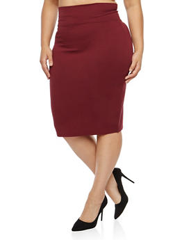 Plus Size Wide Waist Pencil Skirt - 1962051066472