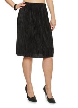 Plus Size Pleated Midi Skirt - BLACK - 1962056578282