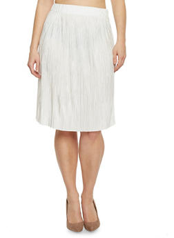 Plus Size Pleated Midi Skirt - 1962056578282