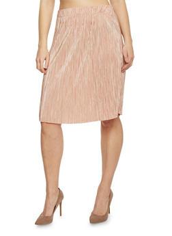 Plus Size Pleated Midi Skirt - BLUSH - 1962056578282