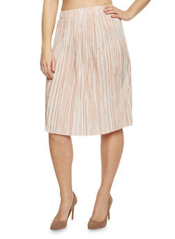 Plus Size Pleated Midi Skirt with Dual Toned Stripes - IVORY-BLUSH - 1962056578283