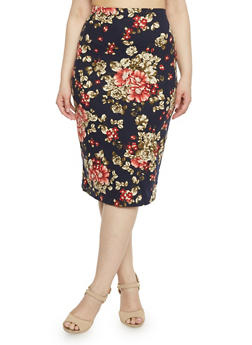 Plus Size Floral Midi Brushed Knit Pencil Skirt - 1962058930453