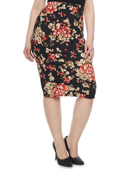 Plus Size Floral Midi Pencil Skirt - 1962058930528