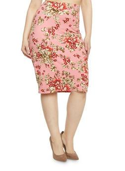 Plus Size Floral Midi Pencil Skirt - 1962058930528
