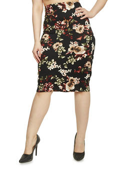 Plus Size Brushed Knit Floral Pencil Skirt - 1962058930836