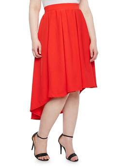 Plus Size Textured Knit High Low Skirt,RED,medium