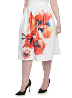 Plus Size Pleated Midi Skirt With Statement Floral Print,WHITE,medium