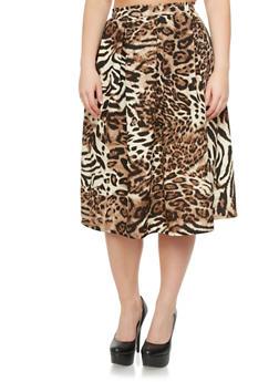 Plus Size High Waisted Leopard Print Midi Skirt,BROWN,medium