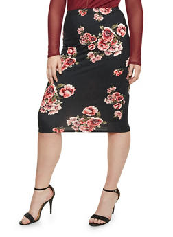 Plus Size Midi Pencil Skirt in Floral Print - 1962058934019
