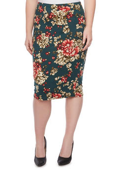Plus Size Midi Pencil Skirt in Floral Print - GREEN - 1962058934019