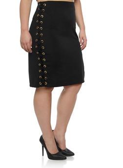 Plus Size Lace Up Grommet Pencil Skirt - 1962058934734