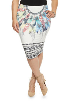 Plus Size Aztec Feather Print Pencil Skirt - 1962058936569