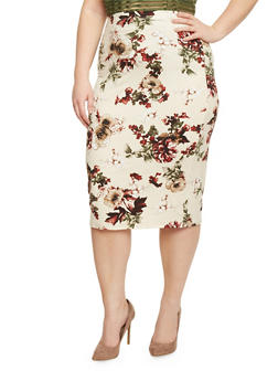 Plus Size Floral Brushed Knit Pencil Skirt - 1962058936637