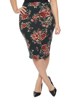 Plus Size Floral Pencil Skrit - 1962058936648