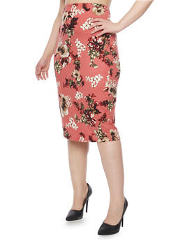 Plus Size Floral Midi Pencil Skirt - 1962058938229