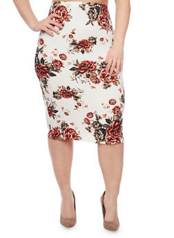 Plus Size Floral Mid Length Pencil Skirt - 1962058938572