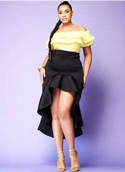 Plus Size High Low Scuba Skirt - 1962062121007