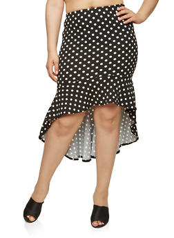 Plus Size Polka Dot High Low Skirt - 1962062121500