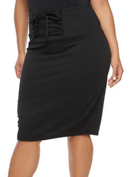 Plus Size Pencil Skirt with Lace Up Details - 1962062705673