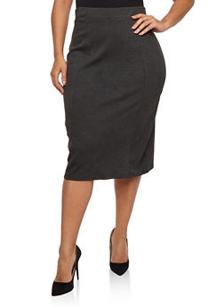 Plus Size Ponte Knit Pencil Skirt - 1962062705721