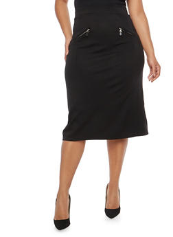 Plus Size Ponte Pencil Skirt with Zip Accents - 1962062705723