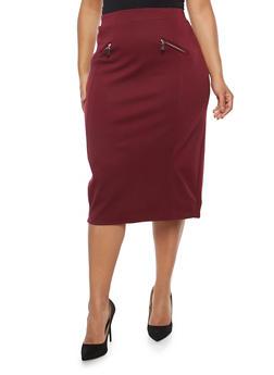 Plus Size Ponte Pencil Skirt - 1962062705733