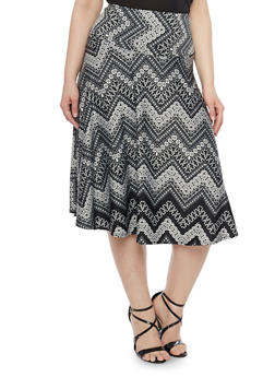 Plus Size Printed Midi Skater Skirt - 1962062708215