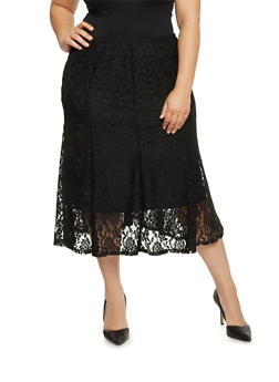 Plus Size Floral Lace Lined Skirt - 1962062708293