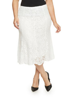 Plus Size Floral Lace Lined Skirt - IVORY - 1962062708293